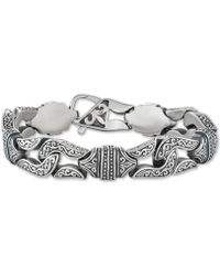 Macy's - Large Decorative Link Chain Bracelet In Stainless Steel & Black Titanium-plate - Lyst