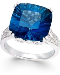 Macy's - London Blue Topaz (8-1/2 Ct. T.w.) And Diamond (1/2 Ct. T.w.) Ring In Sterling Silver - Lyst
