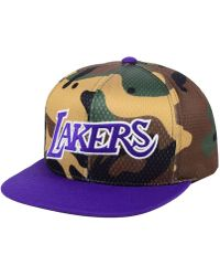 b07da1c0 Mitchell & Ness - Los Angeles Lakers Woodland Camo Hook Snapback Cap - Lyst