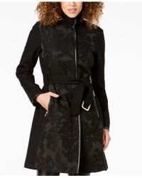 Vince Camuto - Twill Cool Faux-leather-trim Coat - Lyst