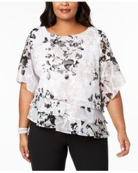 Alex Evenings - Plus Size Printed Tiered Blouse - Lyst