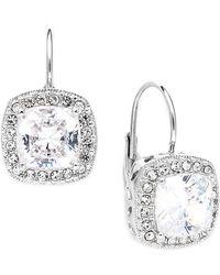 Danori - Earrings, Silver-tone Framed Cushion Cut Cubic Zirconia Leverback Earrings (6 Ct. T.w.) - Lyst