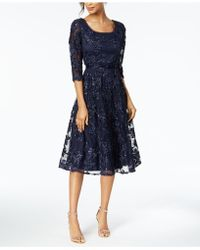 Alex Evenings - Belted Sequined Midi Dress - Lyst