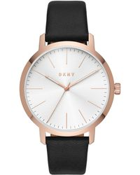 DKNY - Modernist Black Leather Strap Watch 44mm - Lyst