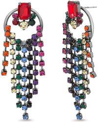 Steve Madden - Rainbow Fringe Circle Post Earrings (multi/gunmetal-tone) Earring - Lyst