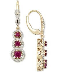 Rare Featuring Gemfields - Certified Ruby (1-1/10 Ct. T.w.) And Diamond (1/2 Ct. T.w.) Triple Stone Infinity Drop Earrings In 14k Gold - Lyst