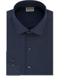 Kenneth Cole Reaction - Techni-cole Slim-fit Flex Collar Three-way Stretch Performance Blue Print Dress Shirt - Lyst