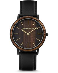 Original Grain - Unisex Minimalist Ebony Wood Barrel Paired With Italian Leather 40mm Watch - Lyst