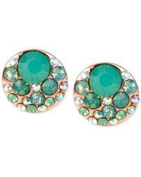 Betsey Johnson - Rose Gold-tone Blue Crystal Stud Earrings - Lyst