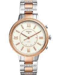 Fossil - Women's Virginia Two-tone Stainless Steel Bracelet Hybrid Smart Watch 36mm - Lyst
