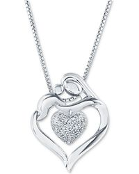 "Macy's - Diamond Mother & Child Heart 18"" Pendant Necklace (1/8 Ct. T.w.) In Sterling Silver - Lyst"