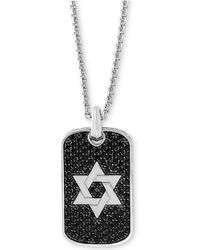 """Effy Collection - Effy® Black Sapphire Star Of David Dog Tag 22"""" Pendant Necklace (2 Ct. T.w.) In Sterling Silver - Lyst"""