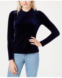 Maison Jules - Velvet Puffed-sleeve Top, Created For Macy's - Lyst