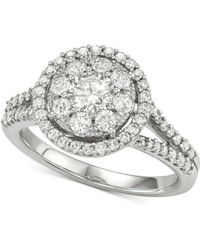 Macy's - Diamond Halo Cluster Engagement Ring (1-1/4 Ct. T.w.) In 14k White Gold - Lyst