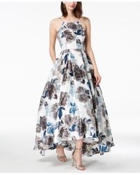 Betsy & Adam - Printed Lace-up High-low Gown - Lyst