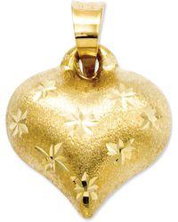 Macy's - 14k Gold Charm, Satin And Diamond-cut Puffed Heart Charm - Lyst