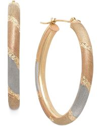 Macy's - Tri-tone Satin And Diamond Cut Oval Hoops In 14k Gold - Lyst