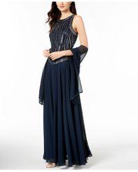 J Kara   Handbeaded Sleeveless Gown With Shawl   Lyst