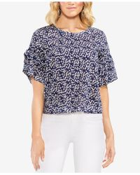 Vince Camuto - Printed Ruffled Top - Lyst