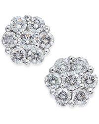 Macy's | Diamond Cluster Stud Earrings (3/4 Ct. T.w.) In 14k White Gold | Lyst