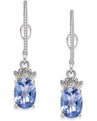 Macy's - Tanzanite (2 Ct. T.w.) & Diamond (1/10 Ct. T.w.) Drop Earrings In 14k White Gold - Lyst