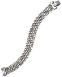 Badgley Mischka - Jewel Silver-tone Crystal Multi-row Flex Bracelet - Lyst