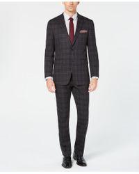 Perry Ellis - Slim-fit Stretch Charcoal Plaid Stretch Suit - Lyst