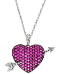 Macy's - Ruby (1-9/10 Ct. T.w.) And Diamond (1/10 Ct. T.w.) Heart Pendant Necklace In Sterling Silver - Lyst