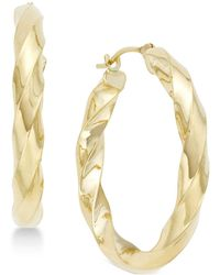 Macy's - Square Twist Hoop Earrings In 10k Gold - Lyst