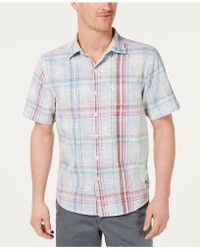 Tommy Bahama - Palms Away Regular-fit Floral-plaid Camp Shirt - Lyst