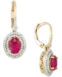 Rare Featuring Gemfields - Certified Ruby (1-1/3 Ct. T.w.) And Diamond (1/2 Ct. T.w.) Drop Earrings In 14k Gold - Lyst