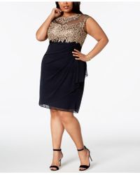 Xscape - Plus Size Ruched Embellished Dress - Lyst