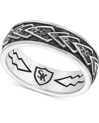 Scott Kay - Men's Engraved Chevron Band In Sterling Silver - Lyst