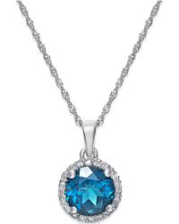 Macy's - 10k White Gold Blue Diamond Necklace And Earring Set (1/6 Ct. T.w.) - Lyst