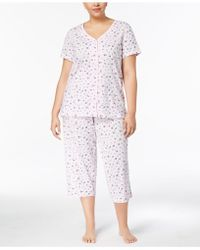 Charter Club - Plus Size Picot-trim Cropped Pajama Set, Created For Macy's - Lyst