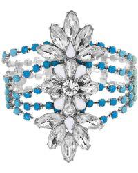 Steve Madden - Silver-tone Crystal & Stone Flower Statement Bracelet - Lyst