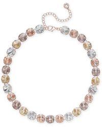 Anne Klein - Rose Gold-tone Multi-stone All-around Necklace - Lyst