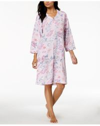 Miss Elaine - Floral-print Waffle-brushed Robe - Lyst
