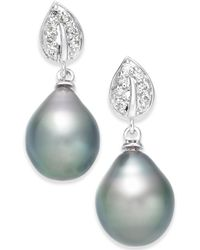 Macy's - Cultured Tahitian Black Pearl (10mm) & Diamond (1/8 Ct. T.w.) Drop Earrings In 14k White Gold (also In White Cultured Pearl) - Lyst