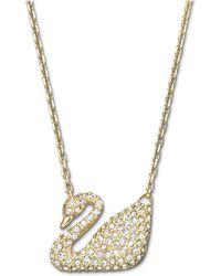 Swarovski - Gold-tone Crystal Swan Pendant Necklace - Lyst