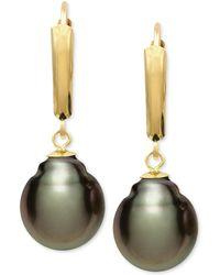 Macy's - Tahitian Pearl (10mm) Leverback Earrings In 14k Gold - Lyst