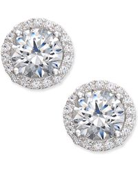 Arabella - Swarovski Zirconia Halo Stud Earrings In Sterling Silver - Lyst