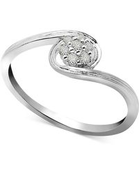 Macy's - Diamond Swirl Small Cluster Ring (1/10 Ct. T.w.) In Sterling Silver - Lyst