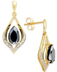 Macy's - Onyx (1-1/4 Ct. T.w.) And Diamond Accent Earrings In 14k Gold - Lyst