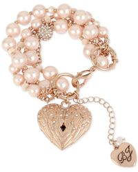 Betsey Johnson - Rose Gold-tone Pavé & Imitation Pearl Winged Heart Charm Bracelet - Lyst