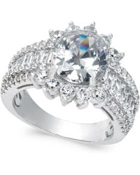 Macy's - Cubic Zirconia Cluster Ring In Sterling Silver - Lyst