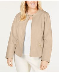 f9d078e59b8 Calvin Klein - Plus Size Faux-leather Moto Jacket - Lyst