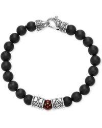 Scott Kay - Men's Onyx (8mm) & Red Agate (8mm) Bead Bracelet In Sterling Silver - Lyst