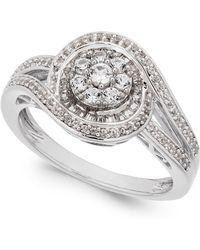 Macy's - Diamond Cluster Circle Ring (1/2 Ct. T.w.) In Sterling Silver - Lyst