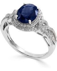 Effy Collection - Sapphire (1-9/10 Ct. T.w.) And Diamond (1/3 Ct. T.w.) Oval Ring In 14k White Gold - Lyst
